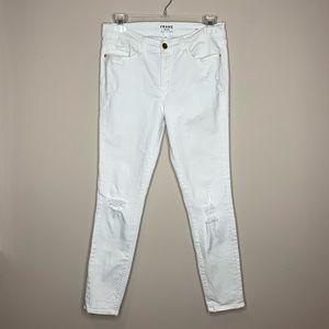 Frame Le Skinny De Jeanne Crop Distressed Jeans